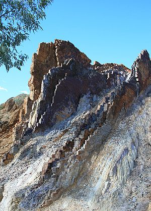 Ochre - Multicolored ochre rocks used in Aboriginal ceremony and artwork. Ochre Pits, Namatjira Drive, Northern Territory