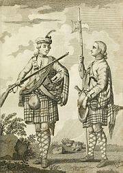 "Portrait of two British soldiers of the ""Black Watch"" regiment in informal poses; on the left one carries a Brown Bess musket horizontally; on the right one holds a pike upright."