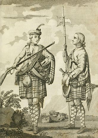 Brown Bess - Soldiers of the Black Watch armed with a musket (Brown Bess) and a halberd, c. 1790.