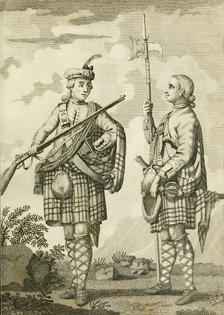 Soldiers of the Black Watch armed with Brown Bess muskets, c. 1790 Officer and Serjeant of a Highland Regiment.jpg