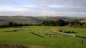Old Sarum Cathedral - The modern site, showing the exposed foundations of the former cathedral