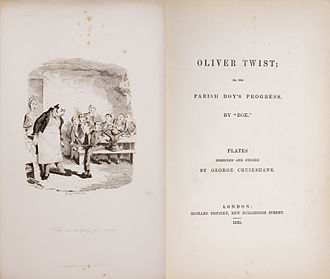 Oliver Twist - Frontispiece and title page, first edition 1838 Illustration and design by George Cruikshank