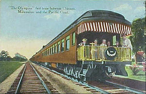 "Olympian Hiawatha - Postcard circa 1914 that called the Olympian the ""fast train"" to the Pacific Northwest, distinguishing it from the slower Columbian."