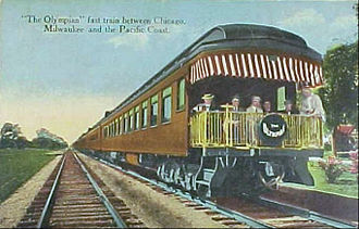 """Olympian Hiawatha - Postcard circa 1914 that called the Olympian the """"fast train"""" to the Pacific Northwest, distinguishing it from the slower Columbian."""