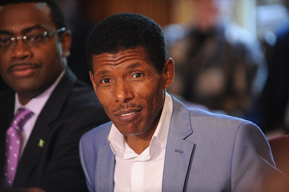 Olympic great Haile Gebrselassie speaking at the Olympic hunger summit in Downing Street, 12 August 2012