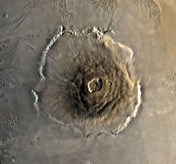 Olympus Mons Mars Global Surveyorin kuvaamana