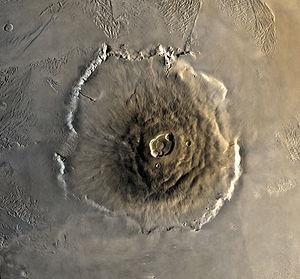Olympus Mons visto desde la órbita de Marte.
