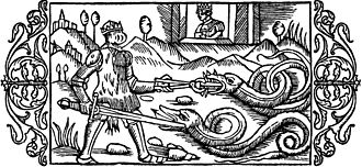"""Alf and Alfhild - """"On Alf, the Defender of Chastity: Alf, a suitor to the princess Alvilda kills two serpents who are guarding her chastity. To vex them he wears a bloody hide over his armour."""" From Olaus Magnus' A Description of the Northern Peoples, 1555."""