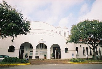 Orlando Health/Amtrak station - Front entrance to the 1926-built Orlando station. Originally used by the Atlantic Coast Line Railroad, now by Amtrak.
