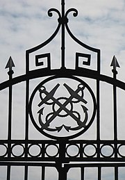 Ornamental gates to the steps down to the Thames, Deptford Strand, SE8 - geograph.org.uk - 1492404.jpg