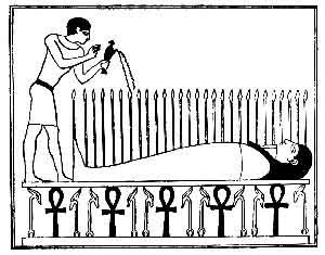 Dying-and-rising god - The Osiris-bed, where he renews the harvest cycle in Egypt