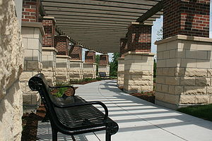 Oswego, Illinois - Park benches at Oswego Village Hall