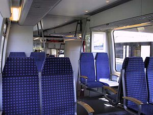 Trillium Line - The interior design of the Bombardier Talent carriages shows their mainline railway heritage.