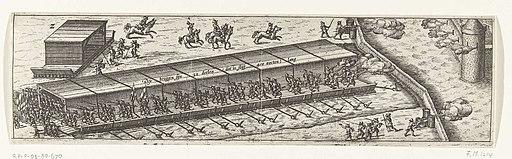 Overdekte stormbrug gebruikt door het Staatse leger bij het beleg van Sluis, 1604, RP-P-OB-80.670