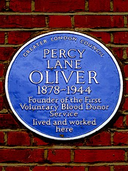 Percy lane oliver 1878 1944 founder of the first voluntary blood donor service lived and worked here
