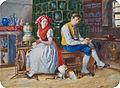 Paar in Tracht auf der Ofenbank.jpg