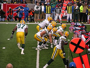 English: Brett Favre Under Center against the ...