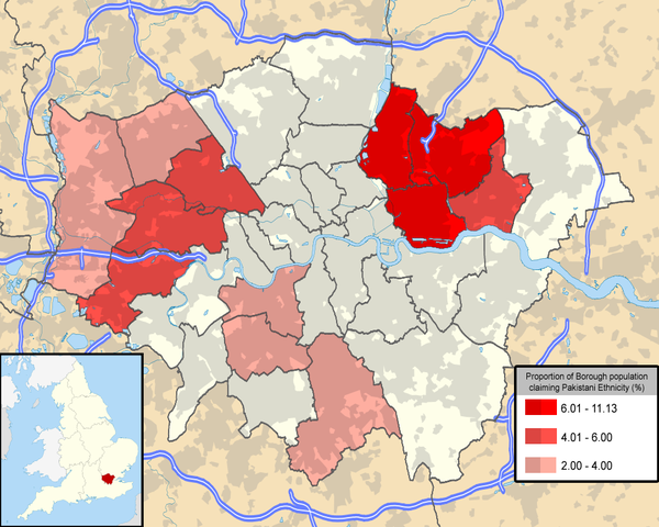 London Boroughs with population claiming Pakistani ethnicity of more than 2 percent
