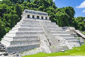 English: Palenque ( Chiapas ). Temple of inscr...