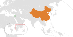 Map indicating locations of Palestine and People's Republic of China