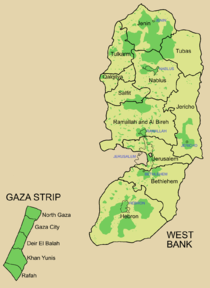 Map of Palestinian Authority (dark green) and Israeli (light green) administered areas in the West Bank and Gaza Strip following the Oslo Accords. The agreement was that Israel would gradually cede control of territories over to the Palestinians in exchange for peace.