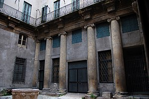 Palazzo Dalla Torre - Courtyard with columns and entablature