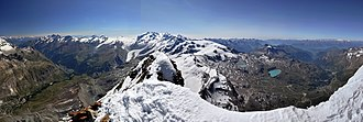 Matterhorn - View from the summit towards Monte Rosa with the valleys of Mattertal (left) and Valtournenche (right)