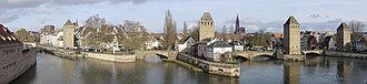 Ponts Couverts, Strasbourg - The three bridges and four towers of the Ponts Couverts seen from the panoramic terrace of Barrage Vauban