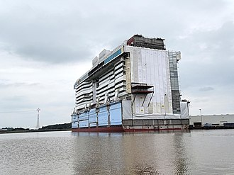 Ovation of the Seas - June 20, 2015 – Floating out of part of Ovation of the Seas at Meyer Werft, Papenburg