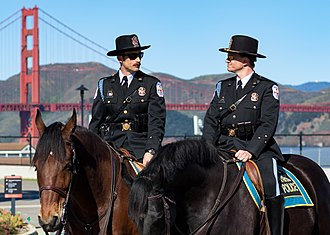 Mounted police - Two members of Park Police Horse Mounted Unit in the Presidio of San Francisco