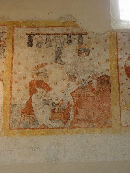 Peinture murale de l'église Saint-Pierre de Parné-sur-Roc (53). Saint-Crépin et Saint-Crépinien.