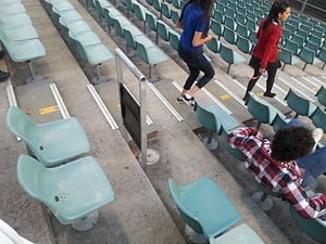 Safe standing - A rail seat at Parramatta Stadium