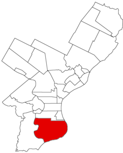 Map of Philadelphia County, Pennsylvania highlighting Passyunk Township prior to the Act of Consolidation, 1854