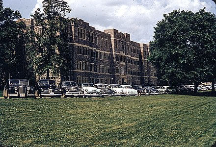 Chevrolet Deluxe cars parked in front of Patton Hall, ca 1952 Patton Hall and cars at Virginia Tech, ca 1952.jpg