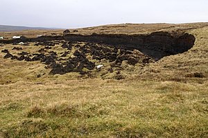 Yell, Shetland - Peat cutting at Ulsta. Deep blanket bog is typical of much of the interior of Yell
