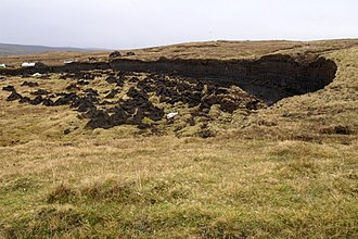 Blanket bog - Blanket bog on the Yell, Shetland Islands, with some peat working