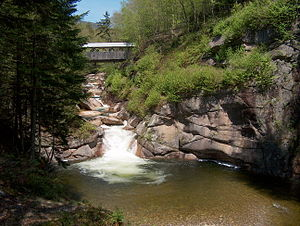 Pemigewasset River - The Sentinel Pine bridge and The Pool in Franconia Notch