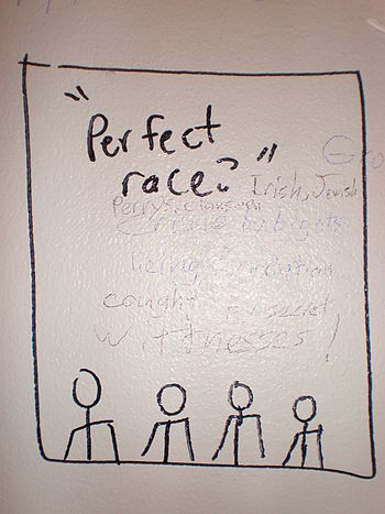 Racist graffiti found in the restroom of a Bor...