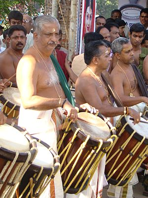Ilanjithara Melam - Peruvanam Kuttan Marar, leader of 'Chenda' group of Paramekkavu Bagavathi Temple performing at Thrissur Pooram