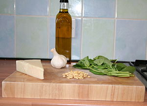 The ingredients to make a Pesto - pecorino che...