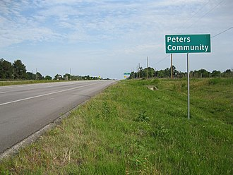Peters, Texas - Image: Peters TX Sign Hwy 36