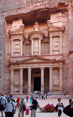 Al-Khazneh in Petra shows the Hellenistic influences on the Nabatean capital city Petra Jordan BW 21.JPG