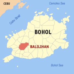 Map of Bohol showing the location of Balilihan