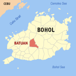 Map of Bohol showing the location of Batuan
