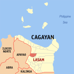 Map of Cagayan with Lasam highlighted