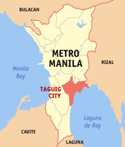 Map of Metro Manila with Taguig highlighted