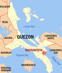 Map of Quezon showing the location of Buenavista