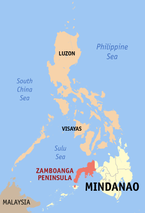 Khadaffy Janjalani - Philippines, with Zamboanga Peninsula in red, and Basilan island just below the southwestern tip.