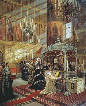 Glorification - Tsar Alexis of Russia (reigned 1645-1676) praying before the relics of Metropolitan Philip of Moscow (in office 1566-1568)