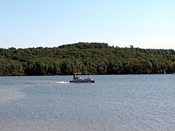 Boat on Glendale Lake at Prince Gallitzin State Park